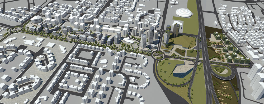 זו ההצעה השנייה, של קימל-אשכולות, שתאוחד עם הקודמת כדי ליצור שדרה אמיתית במערב העיר (תכנון: קימל אשכולות אדריכלים )