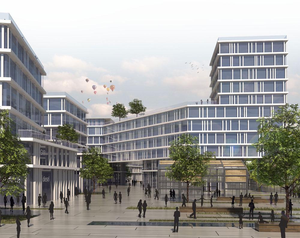מרכז מוניציפלי שאמור לקום במערב ראשל''צ. מערך של כיכרות עירוניות ישולב בשדרה העירונית (תכנון: קימל אשכולות אדריכלים )