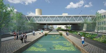 בהשראת תעלות מים הולנדיות. ההצעה של פרייס-פילצר-יעבץ (תכנון: פרייס פילצר יעבץ אדריכלים)