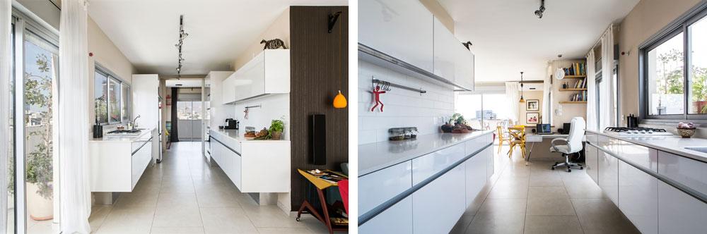 המטבח מחבר בין הסלון לחדרי השינה. בתמונה מימין מבט מכיוון חדר השינה, ובתמונה משמאל מבט מכיוון פינת העבודה (צילום: איתי בנית)