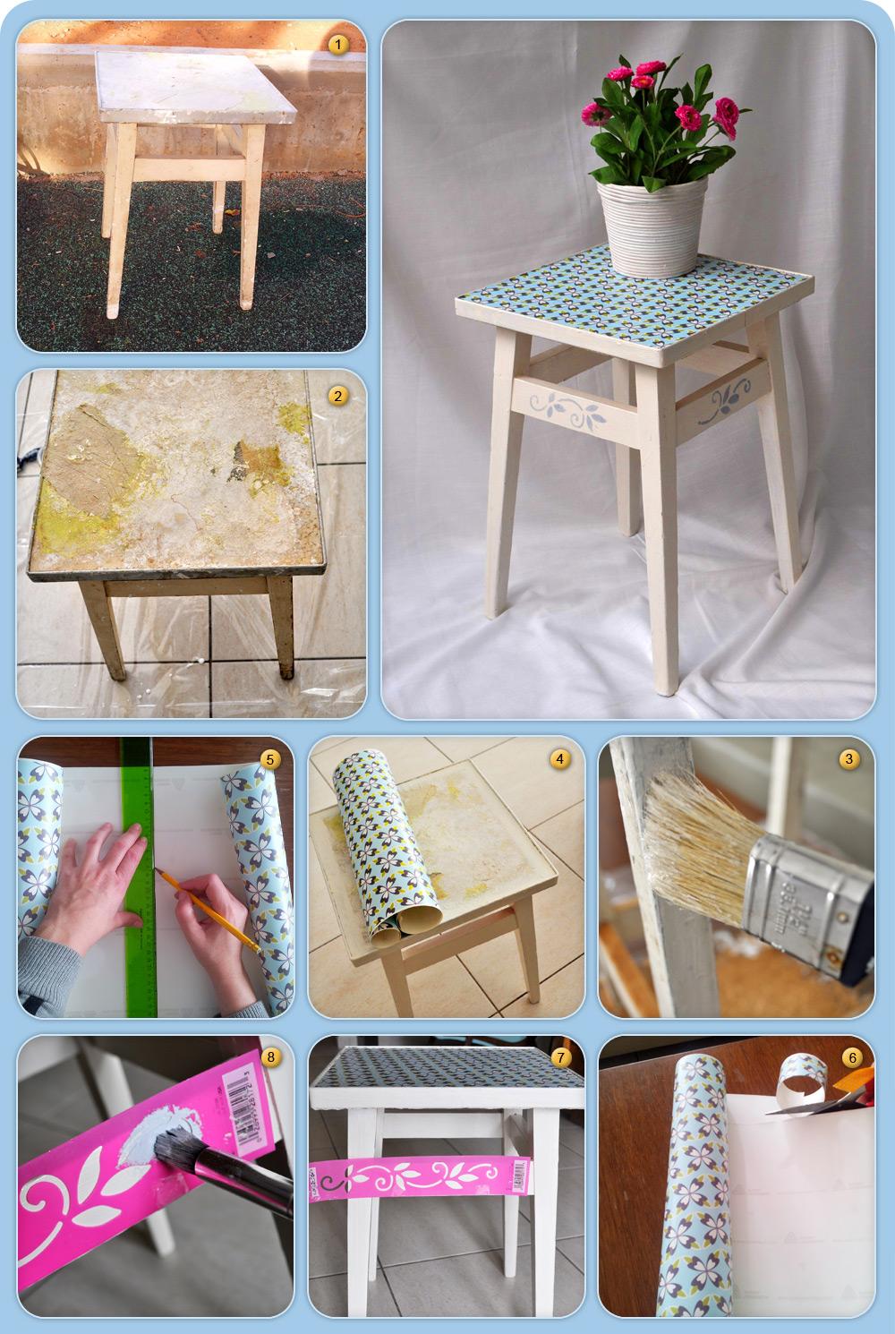 פשוט וזול. שיפוץ כיסא ישן עם שבלונה וטפט (צילום: אביבית ירקוני כהן )