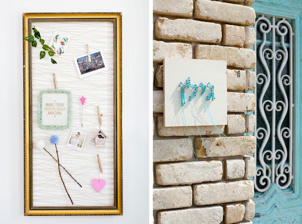 מימין: שם המשפחה על הקיר; משמאל: לוח השראה מקסים (צילום: בועז לביא ,סגנון: קרן ברק)