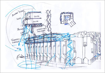 אחת הסקיצות. הגבהה של 3 או 4 קומות (סקיצה: מייקל שוורץ אדריכלים)
