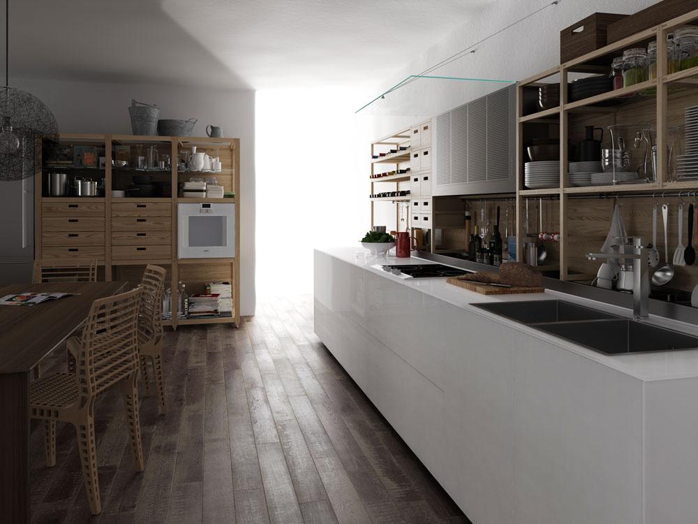 """מטבח של Valcucine. אפשר לוותר על ה""""אי"""" ולחזור לשולחן האוכל המסורתי. אהבנו את הפשטות, הניקיון, השקיפות, הקלילות, החומריות המיוחדת, העבודה בעץ מלא והעיטורים בעבודת יד (באדיבות valcucine)"""