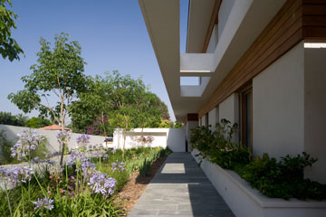 שביל הכניסה: מימין אדנית, משמאל גינה, וממול קיר שבנישה שלו תלויה עבודת אמנות (צילום: מיקאלה בורסטאו)