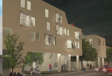 """הדמיה של פרויקט """"פינוי-בינוי חברתי"""" ברעננה. 82 דירות בגדלים שונים (תכנון: סטודיו מיא, מיכל יוקלה אדריכלים)"""