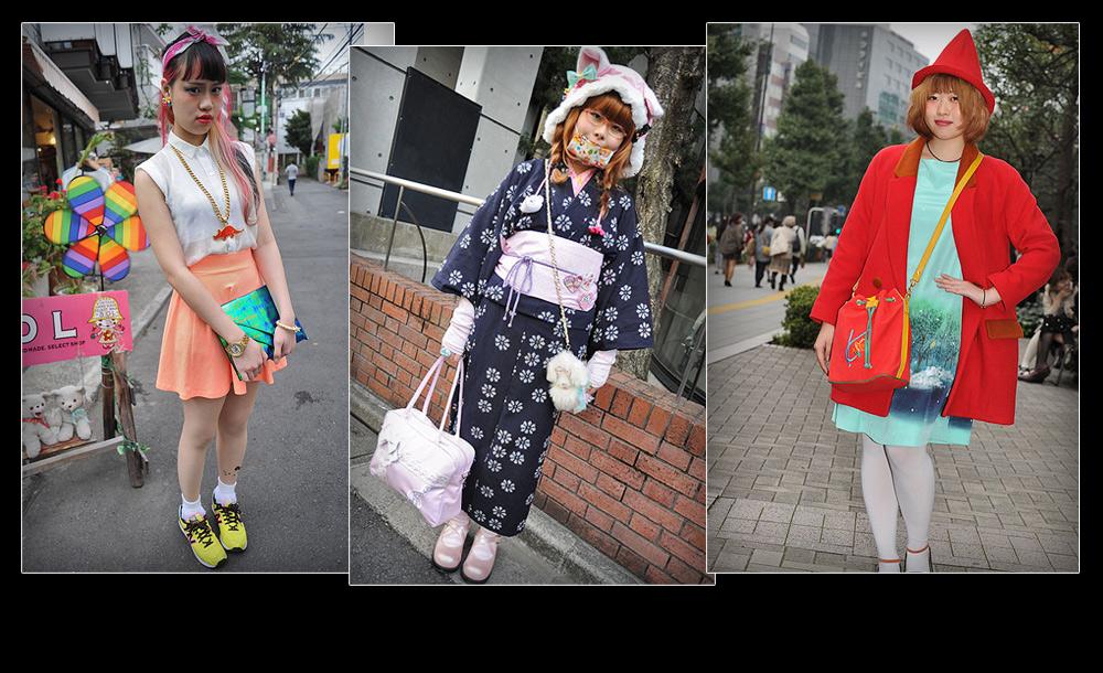 שילוב סגנוני בין מוטיבים מערביים מובהקים למוטיבים מזרחיים מסורתיים שיצרו את המראה החדש - מראה אופנת הרחוב היפנית (באדיבות japanesestreets.com)