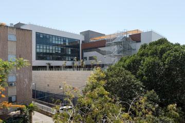 גבוה מעל השכנים. בית הספר ובניין סמוך (צילום: אלי סינגלובסקי )