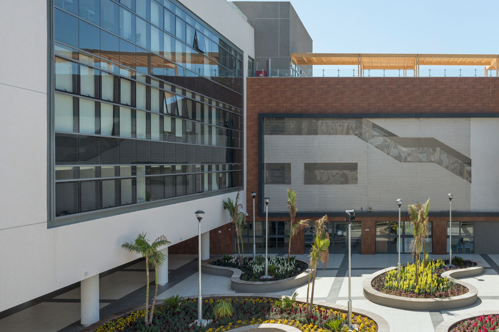 הבניין החדש של הגימנסיה הריאלית ראשון לציון, כפי שצולם בסיור Xnet בשבוע שעבר. תכנון: אליקים אדריכלים. תקציב: 130 מיליון שקל (צילום: אלי סינגלובסקי )