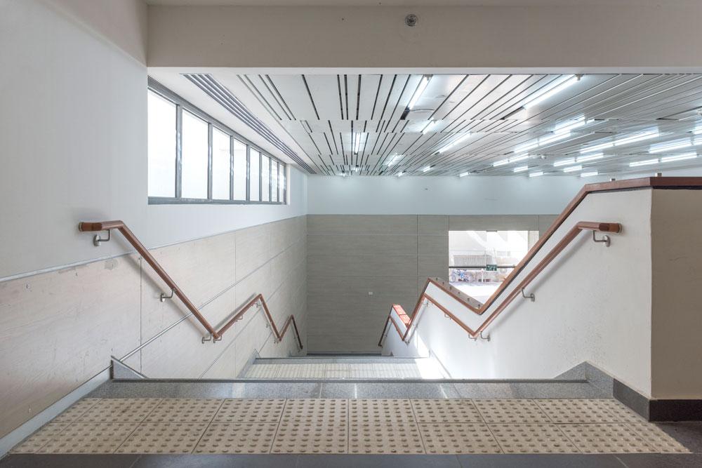 התנועה בין 6 הקומות היא אתגר תכנוני, כשמדובר בתלמידים ומורים ומערכת שעות צפופה. זהו גרם המדרגות הפנימי, לצד האודיטוריום (צילום: אלי סינגלובסקי )