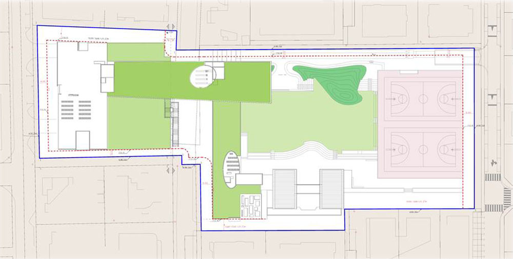 תוכנית הגגות של המבנה החדש. במקום 9,400 מ''ר שטחים פתוחים כיום, יהיו 10,500 מ''ר הודות לשטחים הירוקים שמתוספים (באדיבות אליקים אדריכלים )