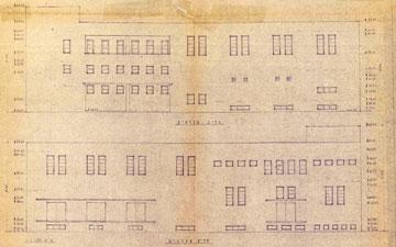 חזיתות הבניין ההיסטורי. עיצוב קפדני
