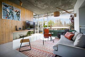 הקיר שמול הספה שקוף בחלקו לפטיו, ובחלקו מכוסה לוחות עץ אורן שנמשחו בלכה (צילום: שירן כרמל)