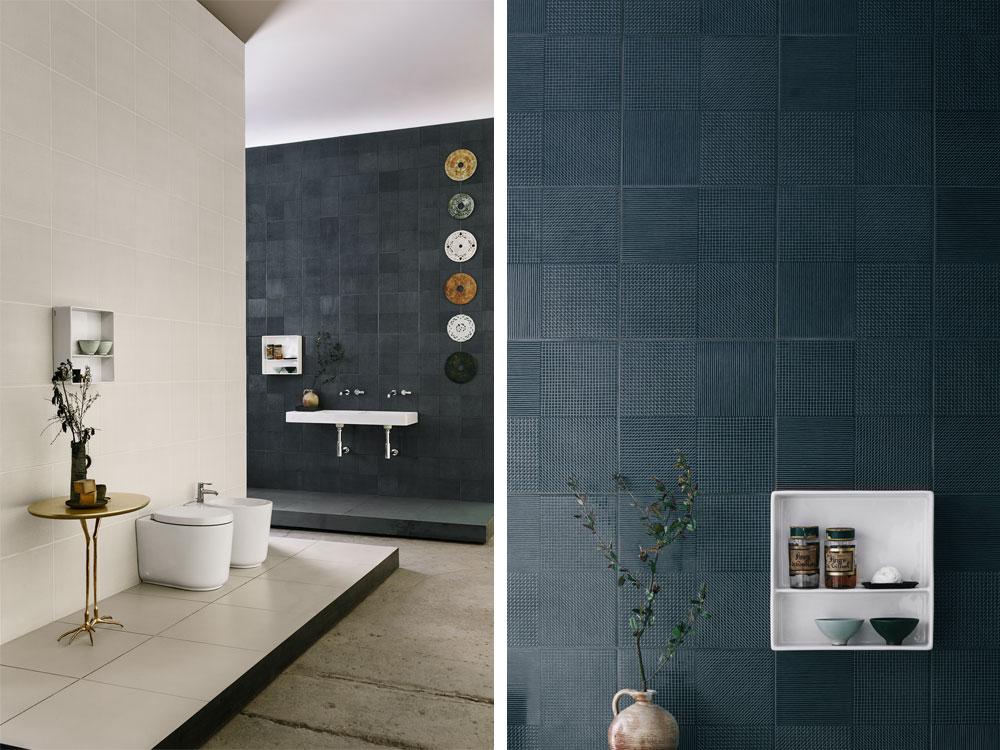 פיירו ליסוני עיצב אריחי אמבטיה בגווני כחול-אפור-לבן לחברה מתאילנד, Cotto, שמנסה להשיג דריסת רגל באירופה. מרקם של פסים בשתי וערב על גבי האריחים (צילום: ©federicocedrone)