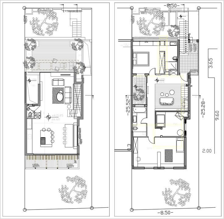 מימין תוכנית הקומה התחתונה, בשטח של 121 מ''ר. דלת הכניסה (למעלה מימין) נפתחת לחדר משפחה, מצדו האחד המדרגות העולות למעלה ומצדו השני המסדרון שמחבר בין חדרי השינה והפטיו. משמאל תוכנית הגג: חלל אחד בשטח של 65 מ''ר, שבו סלון, מטבח ופינת אוכל - ושתי מרפסות בשני הצדדים (באדיבות קרני חורש)