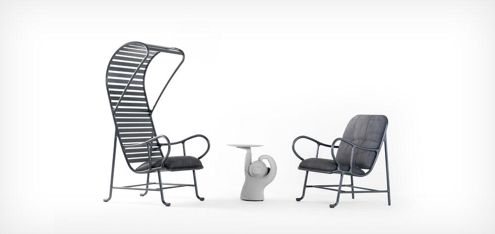 העיצוב המחויך של BD Barcelona: שולחן הצד Monkey של חיימה חיון במרכז, בין הכורסאות שעיצב בעבר לחברה ומגיעות בגרסאות נוספות כעת (צילום: BD Barcelona Design)