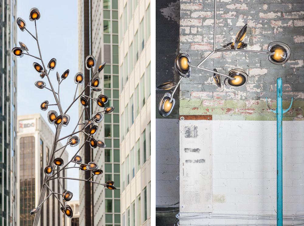 דמיון רב למנורה הקודמת אפשר למצוא במנורות העומדות והגרנדיוזיות ''16'' של עומר ארבל, המעצב הראשי של Bocci הקנדית. נורות ה-Led עטופות בשכבות זכוכית מומסת ויוצרות מראה של עלים על עץ, לשימוש בתוך מבנים וגם בחוץ, במרחב הציבורי (צילום: Gwenael Lewis)
