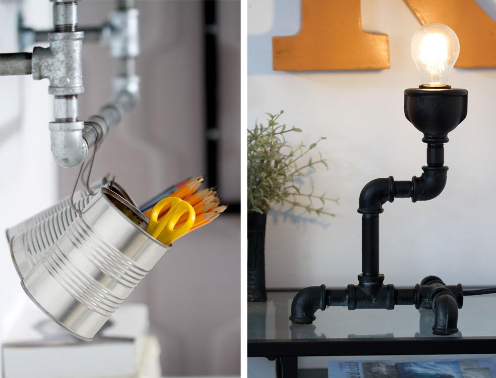 גוף תאורה מצינורות שיצרה המעצבת אודליה שפיר ומתלה לשולחן כתיבה שעשוי גם הוא מצינורות מוסיפים לדירה טאץ' אורבני בתקציב צנוע (צילום: נויה שילוני-חביב)
