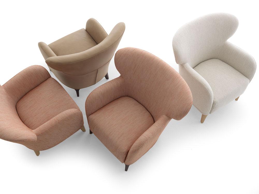 בית העיצוב המפורסם De Padova מסיים בקרוב את תפקידו בהיסטוריה. ייתכן שהרהיטים שהוצגו השנה, כמו כורסאות Alberta של Philippe Nigro, הם האחרונים תחת השם. האם הם יהפכו לפריטי אספנים? (צילום: DePadova Alberta)