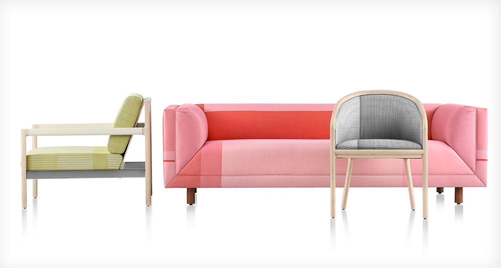 הצמד ההולנדי Scholten & Baijings משביח את הרהיטים הסולידיים של Herman Miller, עם ריפודים באריגים פסטלים-פלואורסנטיים תוצרת חברת הבדים Maharam