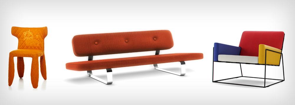 הצבעוני ההולנדי: מרסל ואנדרס עיצב ל-Moooi, שבראשו הוא עומד, כיסאות ברוח פיט מונדריאן (מימין), מפלצת (משמאל) וספת שנ''צ (ספת יום) תחת השם Poer Nap (צילום: Moooi)