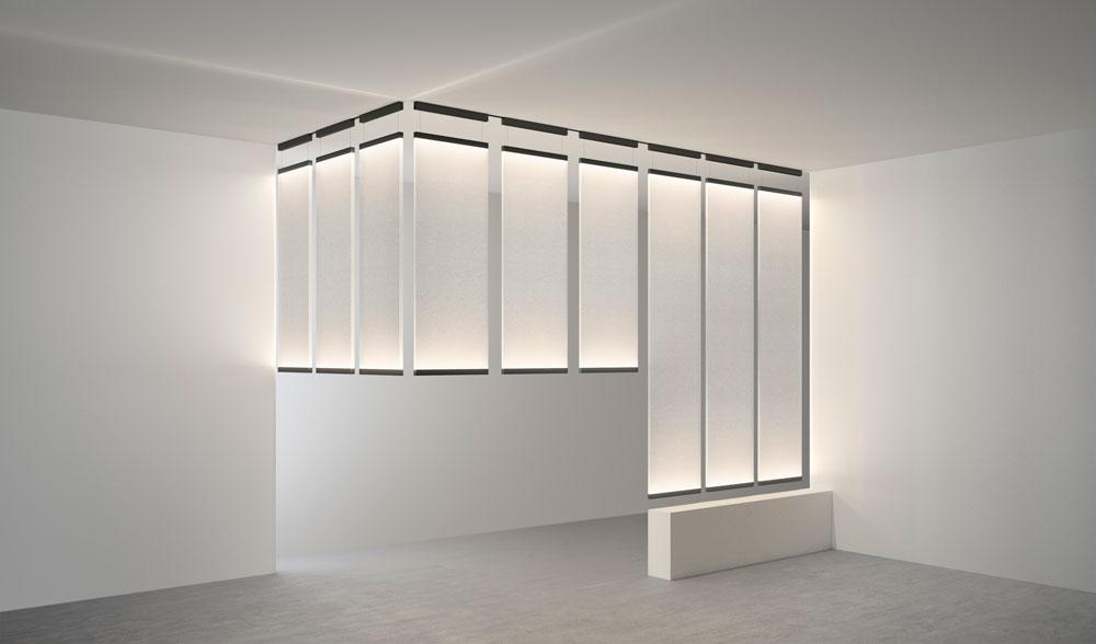 כמו מחיצה: גופי התאורה הכבדים והמאסיביים של אריק לוי יוצרים מחיצה של ממש, שניתנת לאפיון לפי העיצוב המבוקש. כך אפשר לסגור חלל שלם באור במקום קירות. Vibia