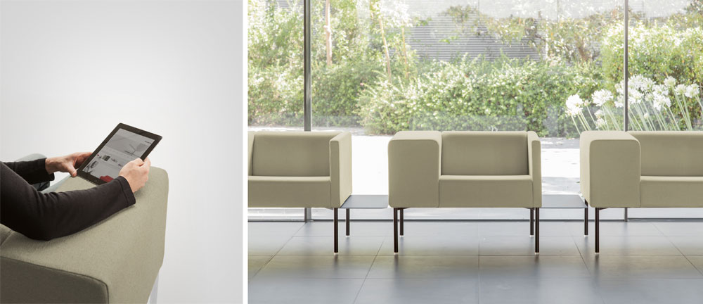 מותאם לעידן ההתמכרות לסמארטפון: הכורסאות של Viccarbe מצוידות במשענת רחבה במיוחד, כדי לענות על הצורך, למשל בחדרי המתנה