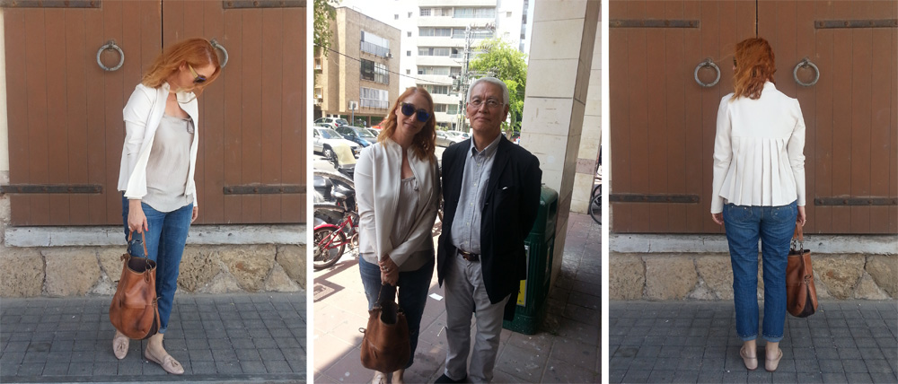 אני ומר SATOSHI YASUI, בז'קט בגוון אבן של Dagani studio