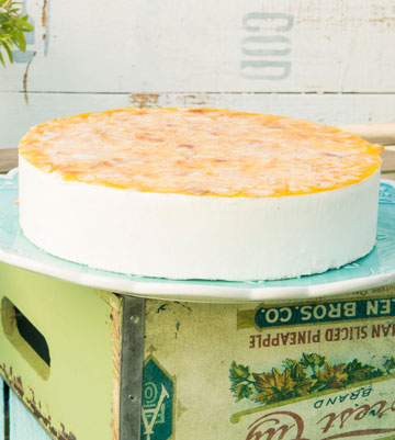 עוגת מוס גבינה מופחתת קלוריות בציפוי תפוזים (צילום: הדס ניצן)