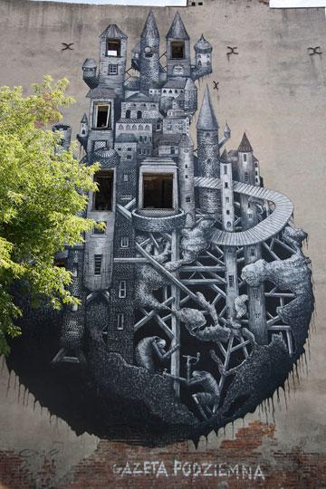עבודה של אמן בריטי בשם phlegm, ברחוב minska 12 (צילום: אסי חיים)