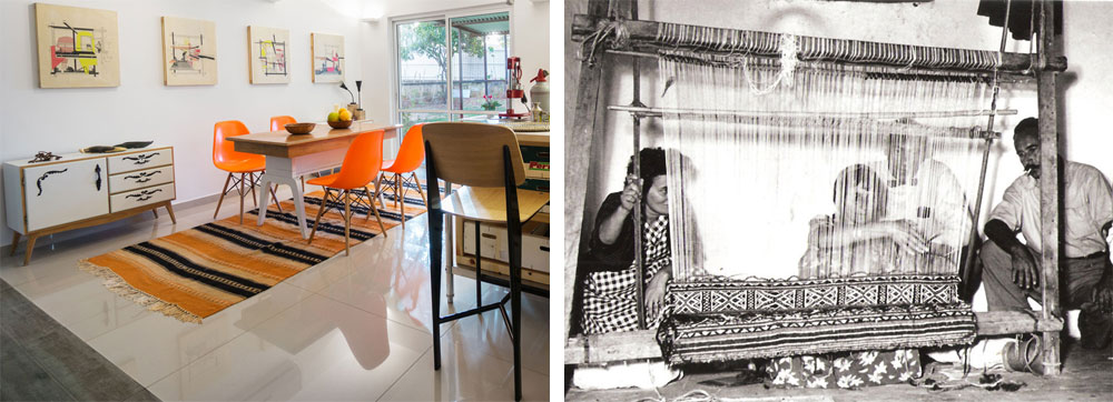 מימין: רות דיין מתבוננת באחת מנשות המושב אורגת. משמאל: שטיח משכית מקורי, שגיא מצא מקופל כחדש בארונות, נפרש מתחת לפינת האוכל (צילום: מרכז תיעוד תל מונד, יואב פלד Peled studios)