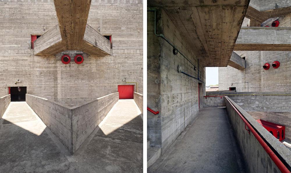 מערכת גשרים מקשרת בין המגדלים ובין מגרשי הספורט במתחם, שמוערמים זה על גבי זה.  (צילום: © Iñigo Bujedo Aguirre  )