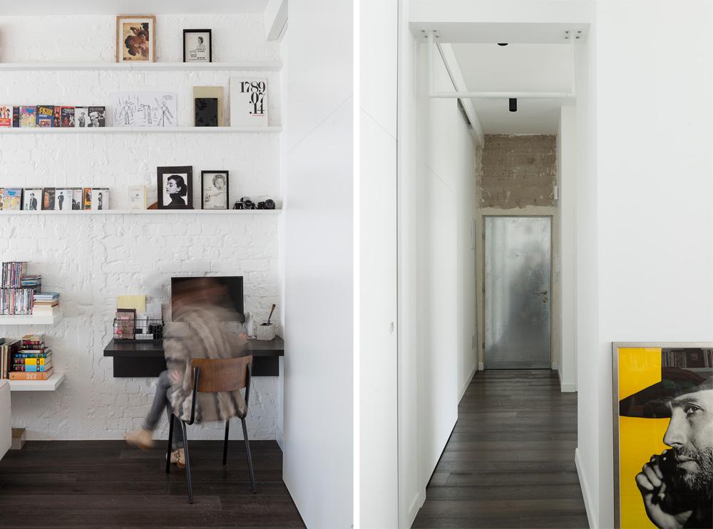 שני קצוות של המסדרון: מימין דלת הכניסה, שהושארה, כמו הקיר שמעליה, חשופה. במסדרון דלתות למטבח, לחדר הרחצה ולחדר הילדים. משמאל פינת העבודה בסלון (צילום: גדעון לוין, ''181 מעלות'')