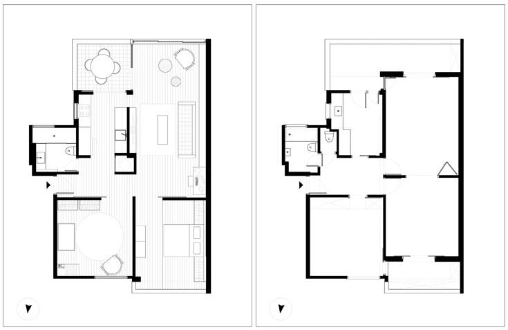תוכנית הדירה, ''לפני'' (מימין) ואחרי השיפוץ. החדרים הושארו במקומם המקורי, ומעט קירות הוסרו כדי להוסיף מרחב ותנועה: חדר ההורים והסלון הרוויחו שטח על חשבון המרפסות שהיו צמודות להם, הקיר שבין הסלון למטבח נפתח מעט, ושירותי האורחים בוטלו (באדיבות סטודיו מטקה)