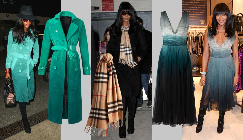 נעמי קמפבל לא מוותרת על פריטי הברברי שלה (13,180 שקל לשמלה, 26,000 למעיל, 2,000 שקל לצעיף הקשמיר) (צילום: splashnews/asap creativ)