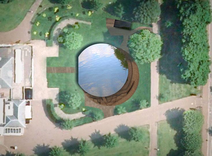 מבט מלמעלה (הדמיה). הפרויקט נועד לגרום למבקרים להביט אל מתחת לפני השטח ואל העבר. הוא שונה מאוד מהמבנים האקסטרווגנטיים שאיתם בדרך כלל מזוהים הרצוג ודה-מרון (צילום: Herzog and de Meuron and Ai Weiwei )