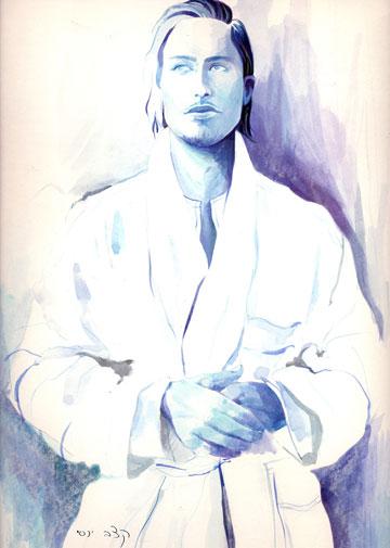 תומאס גלובר מ''הארץ הטהורה'' בבגדים בעיצובו של יוסי קצב (איור: יוסי קצב)
