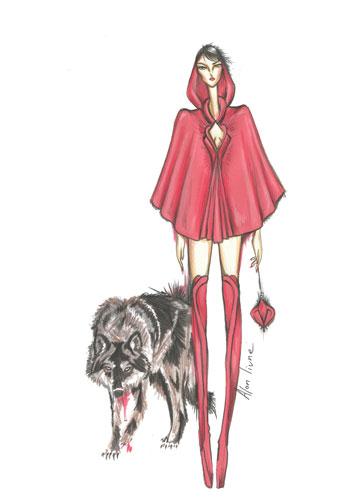 כיפה אדומה בבגדים בעיצובו של אלון ליבנה (איור: אלון ליבנה)