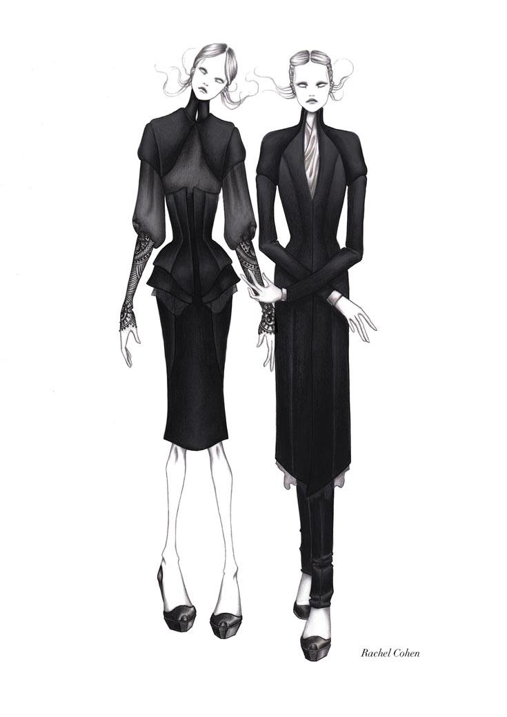 הסטר פרין מ''אות השני'' בשתי תלבושות שונות שעיצבה עבורה רחל כהן. ''הדמות שימשה לי השראה עוד בפרויקט הגמר שלי במרנגוני''  (צילום: דן לב)