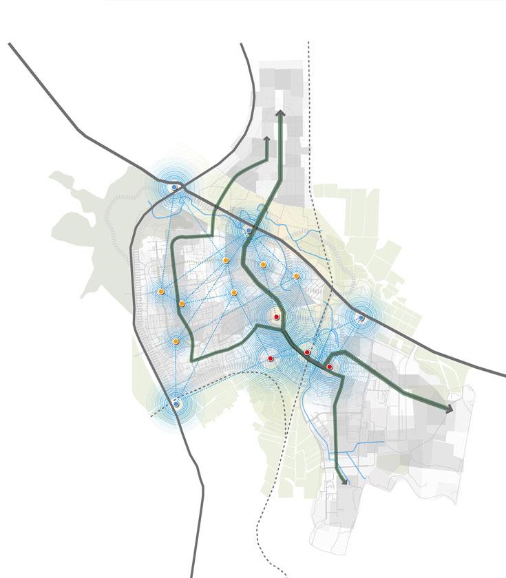 העירייה אימצה את ההמלצות ומתכננת להקים שני ביתנים קהילתיים כבר בחודשים הקרובים, חלק ממפה רחבה יותר (בתרשים) (באדיבות המעבדה לעיצוב עירוני, אוניברסיטת תל אביב)