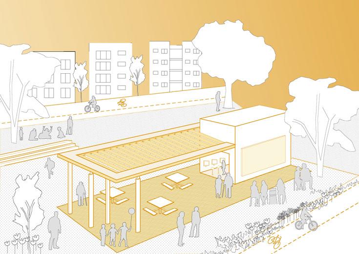 התכנית מציעה להקים בקרית גת שלושה סוגי ביתנים, כחלק ממערכת של צירי תנועה להולכי רגל, רוכבי אופניים וכלי רכב (באדיבות המעבדה לעיצוב עירוני, אוניברסיטת תל אביב)