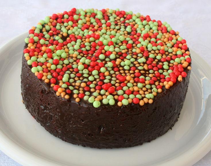 עוגת שוקולד עם סוכריות צבעוניות (צילום: אסנת לסטר)