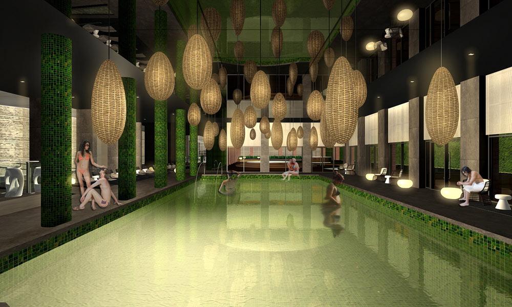 הדמיה של הספא המתוכנן במלון ''כרמים'' החדש בקריית ענבים. ''הרעיון הוא לא לעשות עוד מלון ירושלמי, אלא דווקא מלון צעיר ורענן, שיש בו קצת ניו יורקיות'', מסביר ויסברוד (צילום: באדיבות אילן ויסברוד)