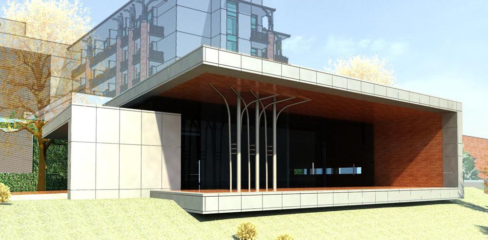 סקיצה של המלון בקרית ענבים, בתכנונו של האדריכל גיא איגרא. ''מיסגור'' של הנוף (צילום: באדיבות אילן ויסברוד)
