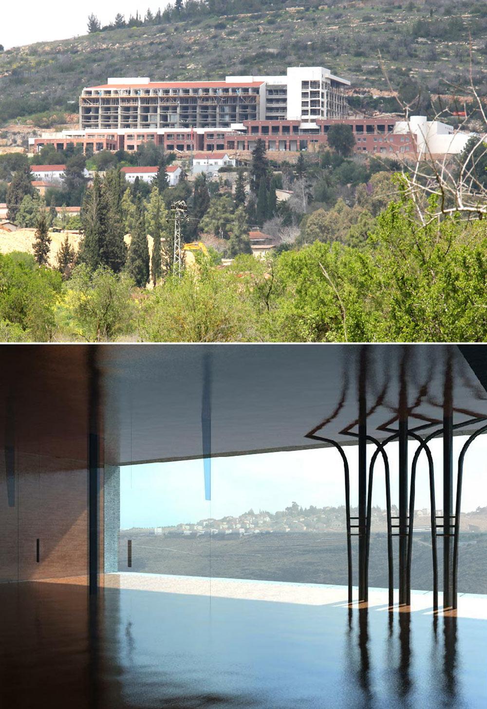 למעלה: המלון הנבנה בקריית ענבים, שצפוי להיפתח בעוד כשנה. למטה: הלובי. ''מקום סופר מודרני, שממנו אפשר להתבונן בתמונת נוף ירושלמי'', אומר ויסברוד (באדיבות אדריכל גיא איגרא)