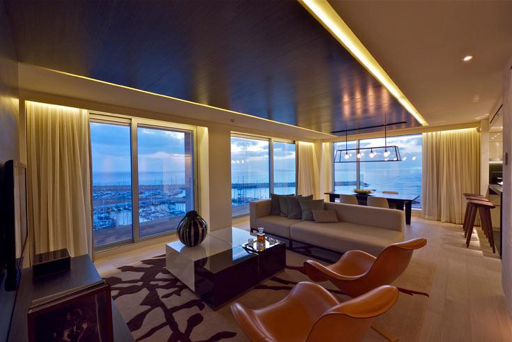 דירה לדוגמה במלון ריץ הנבנה במרינה בהרצליה (צילום: איתי סיקולסקי)