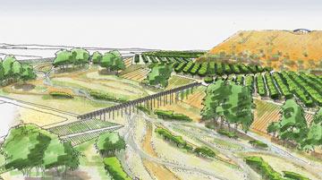 אדריכלים מתחרים כעת על תכנון הגשר, שיחבר את ההר לדרך לוד (איור: עליזה ברוידא, אלבטרוס, פארק אריאל שרון)