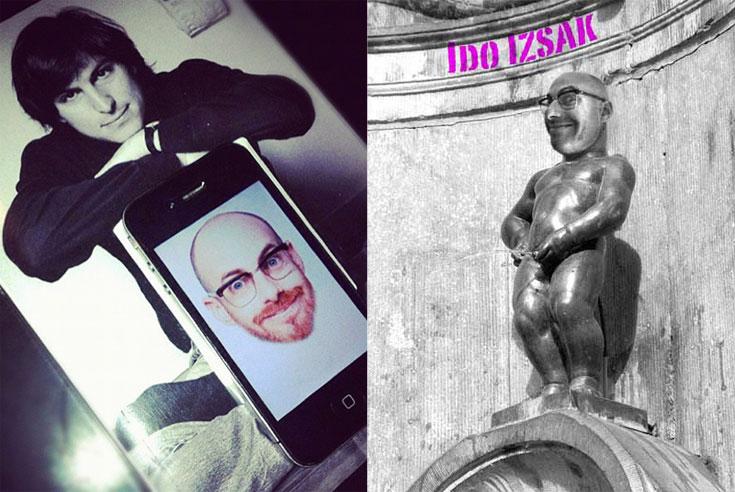 פניו הרבות של עידו איז'ק: כראש של פסל (מימין) ובתוך אייפון עם תמונה של סטיב ג'ובס בצעירותו. ''ביום שיצא טלפון סלולרי עם מצלמה מובנית, החיים שלי השתנו'' (צילום: עידו איז'ק)