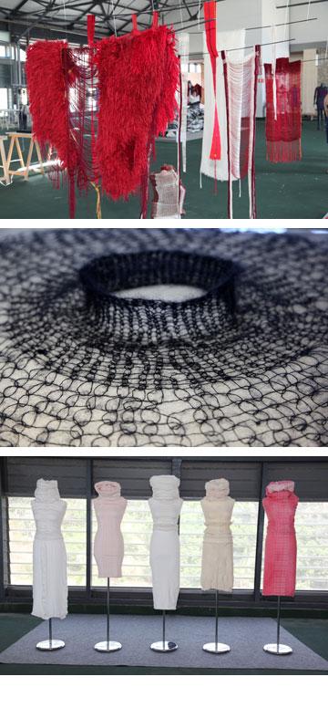 מלמעלה: עבודות של נטלי איטח, ארז סולו רימון ומרגנית זלינגר בתערוכת הבוגרים של המחלקה לטקסטיל בשנקר (צילום: תמי דהן)