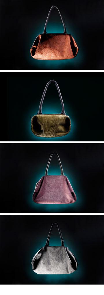 קו התיקים שיצרו צורי גואטה ודניאלה להבי. שיתוף הפעולה הראשון של מעצב הטקסטיל עם מעצבת אופנה ישראלית (צילום: רן גולני)